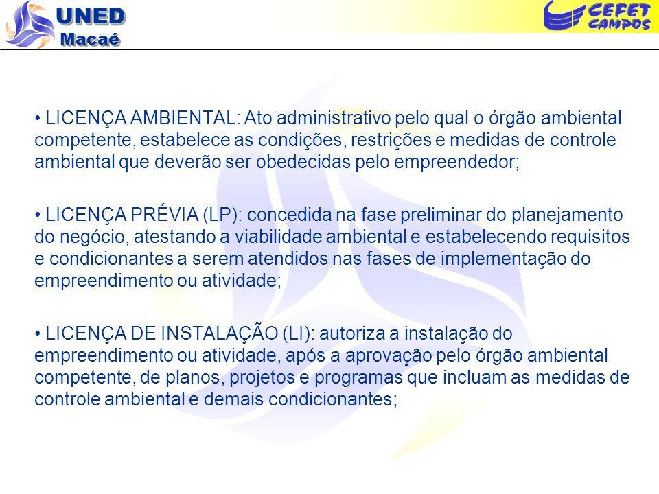 UNED Macaé LICENÇA AMBIENTAL: Ato administrativo pelo qual o órgão ambiental competente, estabelece as condições, restrições e medidas de controle amb