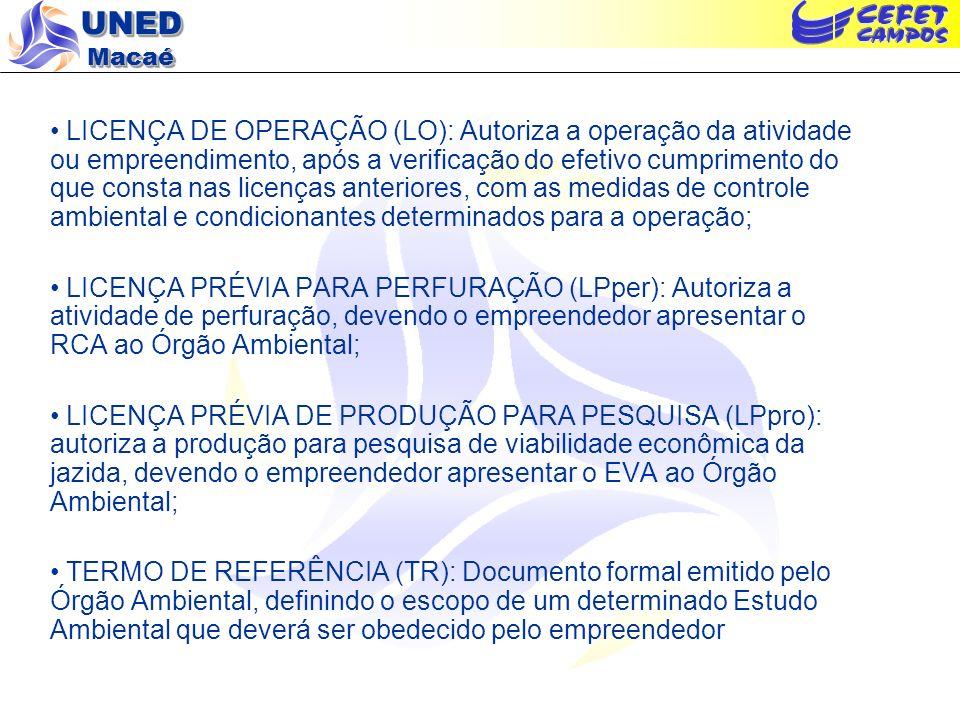 UNED Macaé LICENÇA DE OPERAÇÃO (LO): Autoriza a operação da atividade ou empreendimento, após a verificação do efetivo cumprimento do que consta nas l