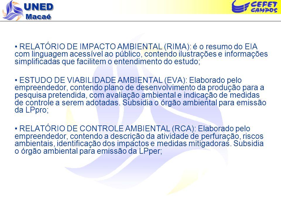 UNED Macaé RELATÓRIO DE IMPACTO AMBIENTAL (RIMA): é o resumo do EIA com linguagem acessível ao público, contendo ilustrações e informações simplificad
