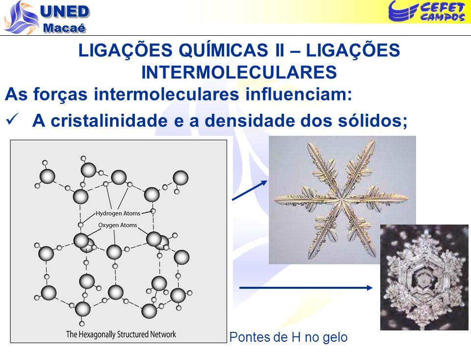 UNED Macaé LIGAÇÕES QUÍMICAS II – LIGAÇÕES INTERMOLECULARES As forças intermoleculares influenciam: A cristalinidade e a densidade dos sólidos; Pontes