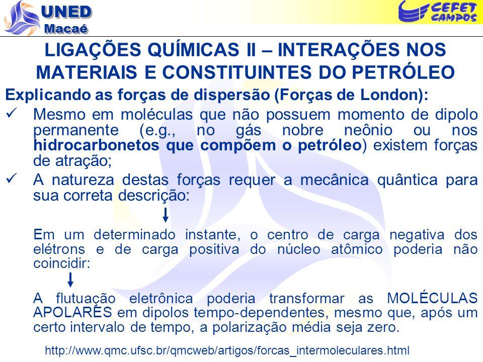 UNED Macaé Explicando as forças de dispersão (Forças de London): Mesmo em moléculas que não possuem momento de dipolo permanente (e.g., no gás nobre n
