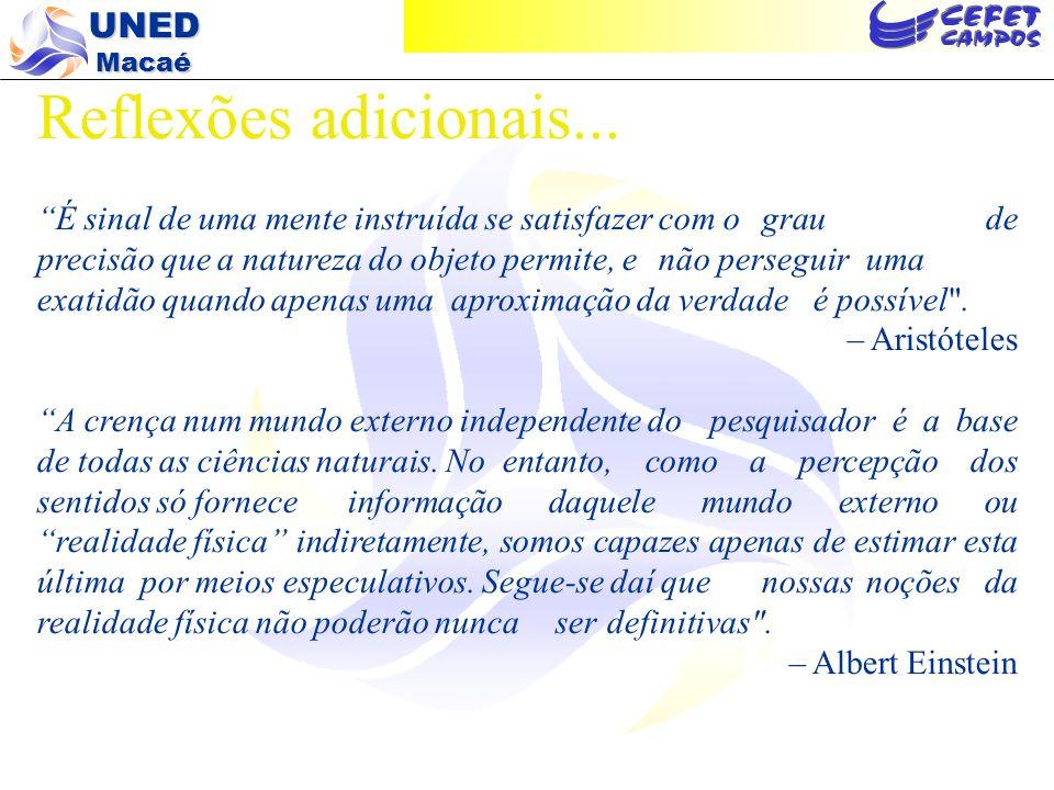 UNED Macaé...e portanto:...porque sistemas ambientais são sistemas complexos e não-lineares.