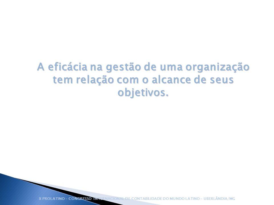 A eficácia na gestão de uma organização tem relação com o alcance de seus objetivos. X PROLATINO – CONGRESSO INTERNACIONAL DE CONTABILIDADE DO MUNDO L