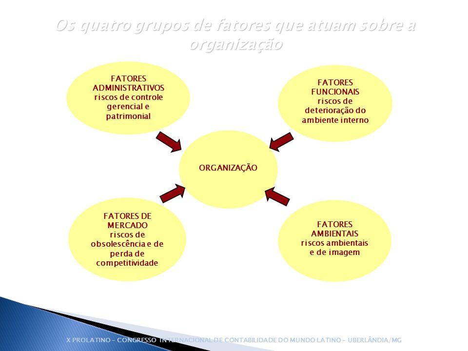 ORGANIZAÇÃO FATORES ADMINISTRATIVOS riscos de controle gerencial e patrimonial FATORES FUNCIONAIS riscos de deterioração do ambiente interno FATORES D