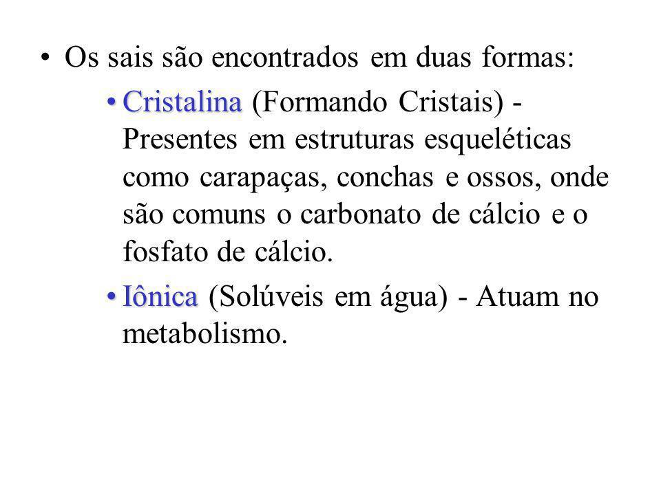 Os sais são encontrados em duas formas: CristalinaCristalina (Formando Cristais) - Presentes em estruturas esqueléticas como carapaças, conchas e osso