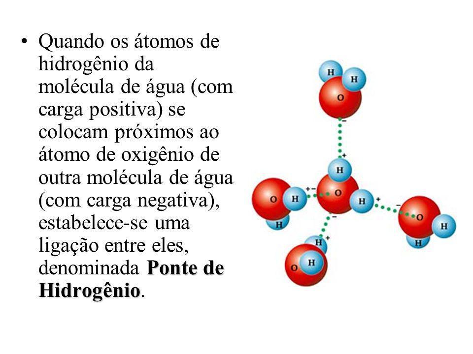 Ponte de HidrogênioQuando os átomos de hidrogênio da molécula de água (com carga positiva) se colocam próximos ao átomo de oxigênio de outra molécula