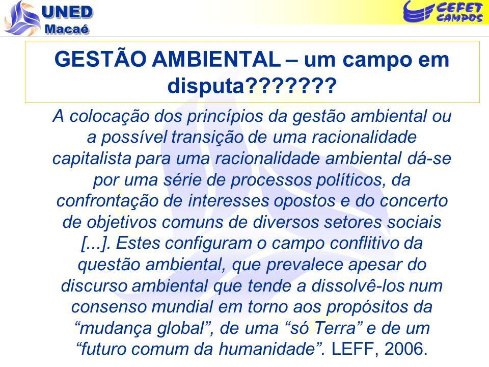 UNED Macaé GESTÃO AMBIENTAL – um campo em disputa??????? A colocação dos princípios da gestão ambiental ou a possível transição de uma racionalidade c