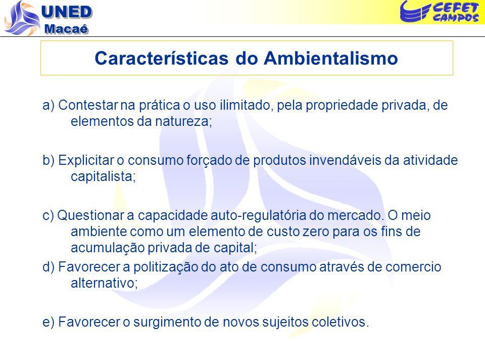 UNED Macaé Características do Ambientalismo a) Contestar na prática o uso ilimitado, pela propriedade privada, de elementos da natureza; b) Explicitar