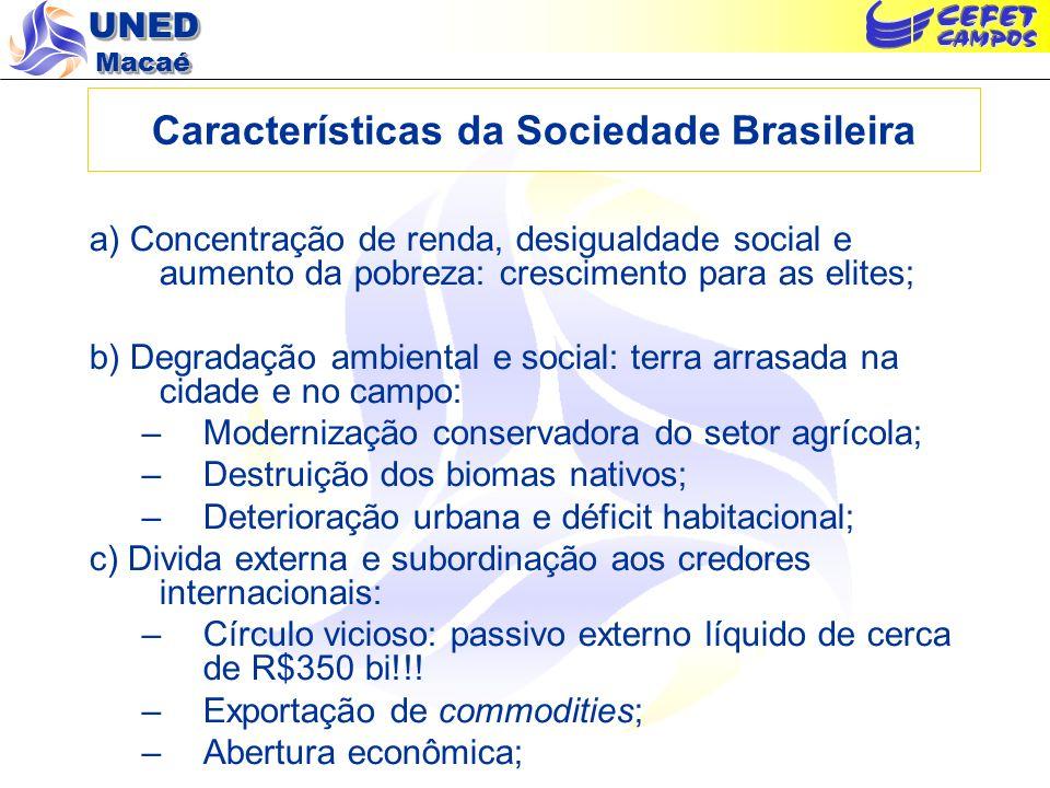 UNED Macaé Características da Sociedade Brasileira a) Concentração de renda, desigualdade social e aumento da pobreza: crescimento para as elites; b)