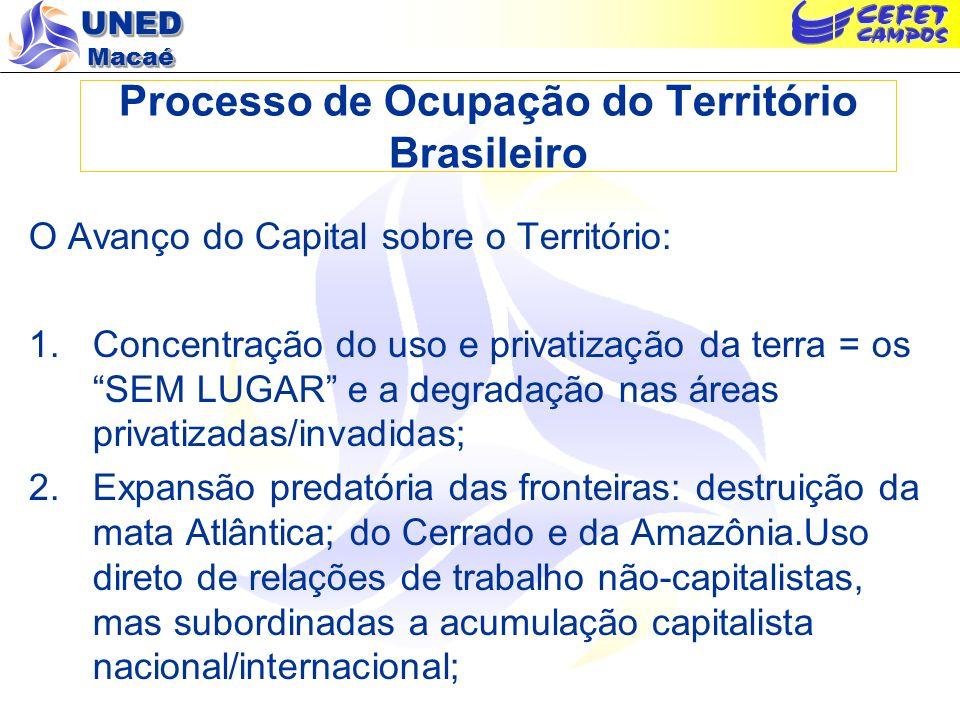 UNED Macaé Processo de Ocupação do Território Brasileiro O Avanço do Capital sobre o Território: 1.Concentração do uso e privatização da terra = os SE
