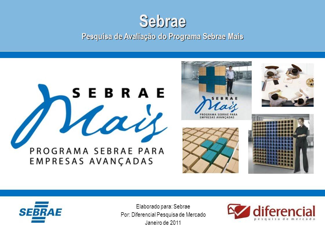 Elaborado para: Sebrae Por: Diferencial Pesquisa de Mercado Janeiro de 2011Sebrae Pesquisa de Avaliação do Programa Sebrae Mais