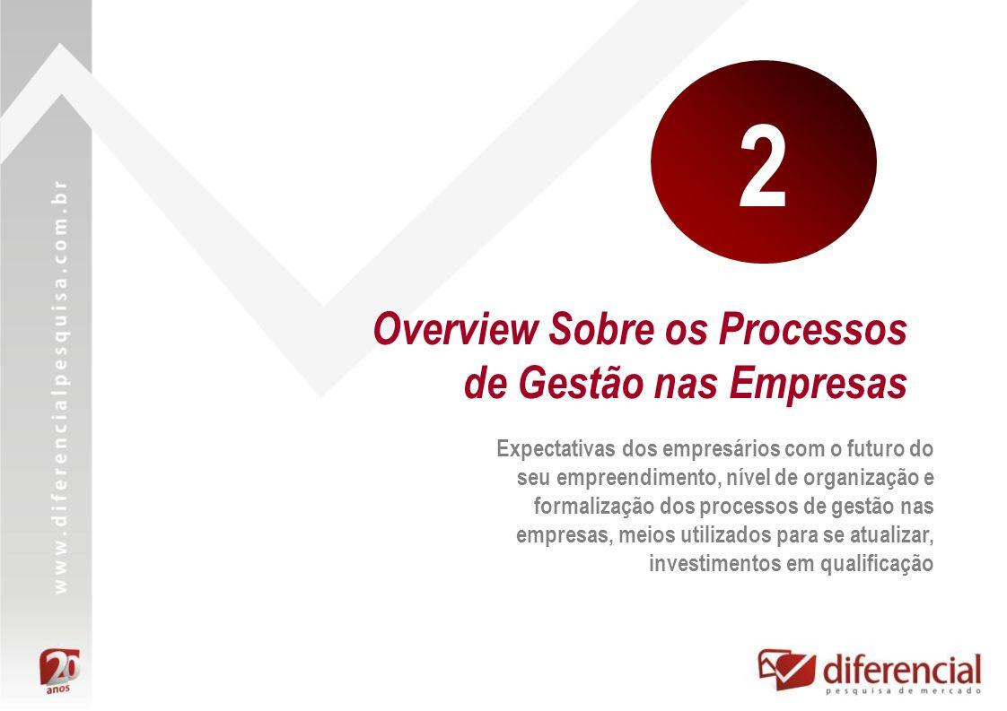 Overview Sobre os Processos de Gestão nas Empresas Expectativas dos empresários com o futuro do seu empreendimento, nível de organização e formalizaçã
