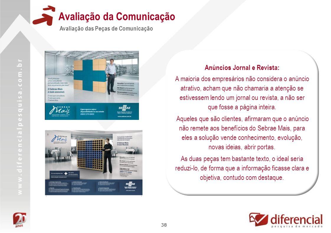 38 Avaliação da Comunicação Avaliação das Peças de Comunicação Anúncios Jornal e Revista: A maioria dos empresários não considera o anúncio atrativo,
