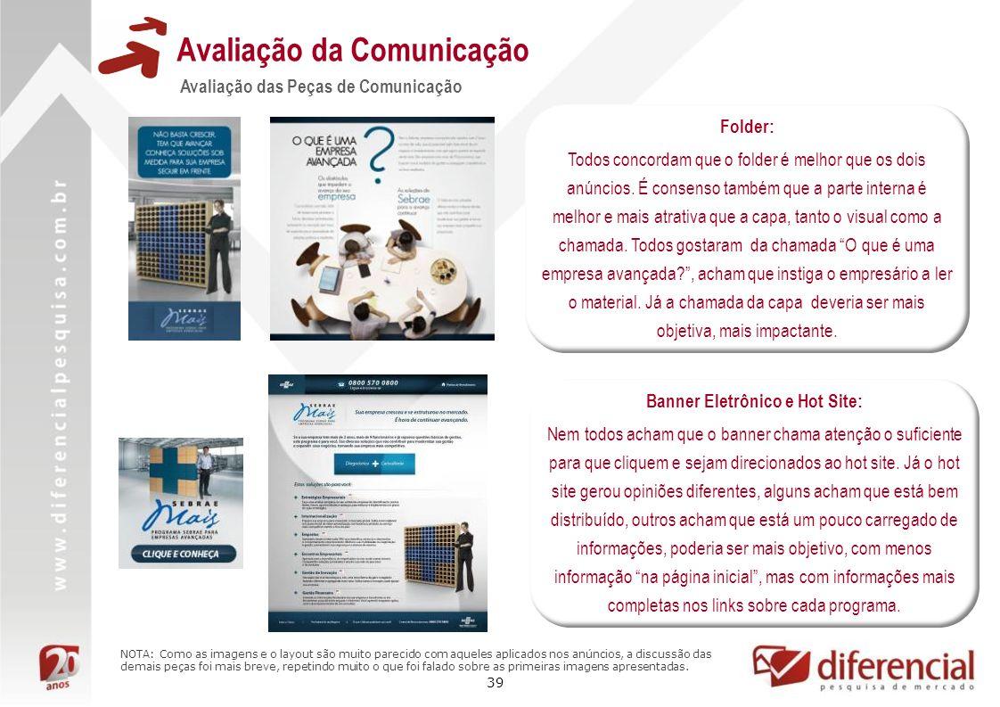 39 Avaliação da Comunicação Avaliação das Peças de Comunicação Folder: Todos concordam que o folder é melhor que os dois anúncios. É consenso também q