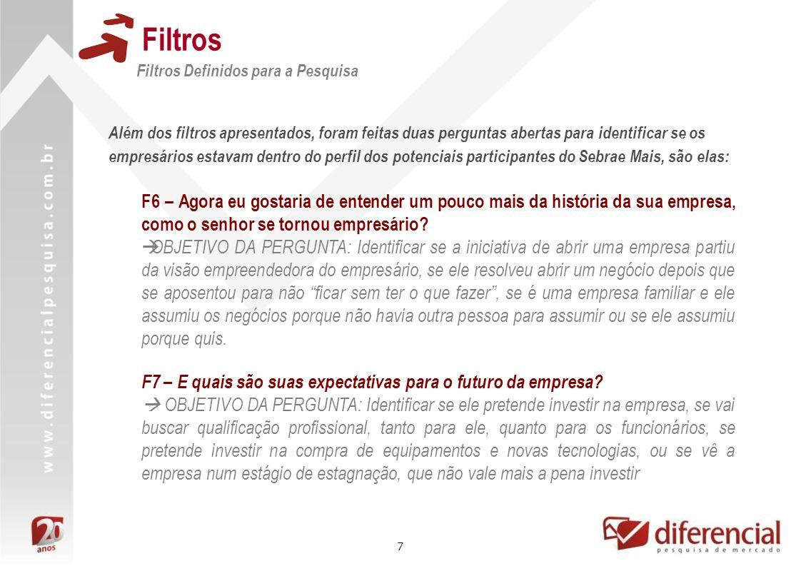 7 Filtros Filtros Definidos para a Pesquisa Além dos filtros apresentados, foram feitas duas perguntas abertas para identificar se os empresários esta