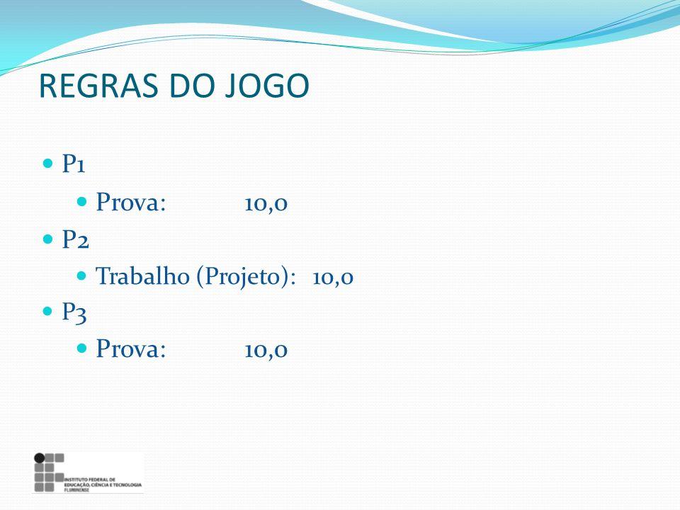 REGRAS DO JOGO P1 Prova:10,0 P2 Trabalho (Projeto):10,0 P3 Prova:10,0