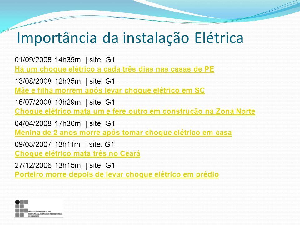 Importância da instalação Elétrica 01/09/2008 14h39m | site: G1 Há um choque elétrico a cada três dias nas casas de PE 13/08/2008 12h35m | site: G1 Mã