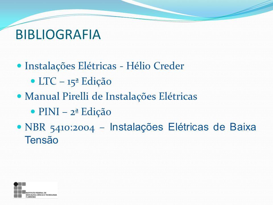 BIBLIOGRAFIA Instalações Elétricas - Hélio Creder LTC – 15ª Edição Manual Pirelli de Instalações Elétricas PINI – 2ª Edição NBR 5410:2004 – Instalaçõe