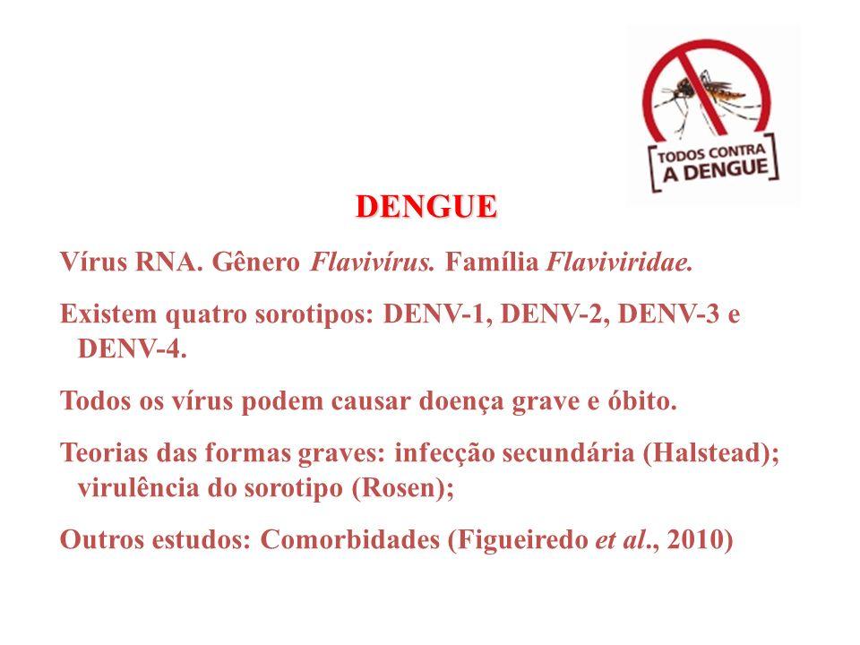 DENGUE Vírus RNA. Gênero Flavivírus. Família Flaviviridae. Existem quatro sorotipos: DENV-1, DENV-2, DENV-3 e DENV-4. Todos os vírus podem causar doen