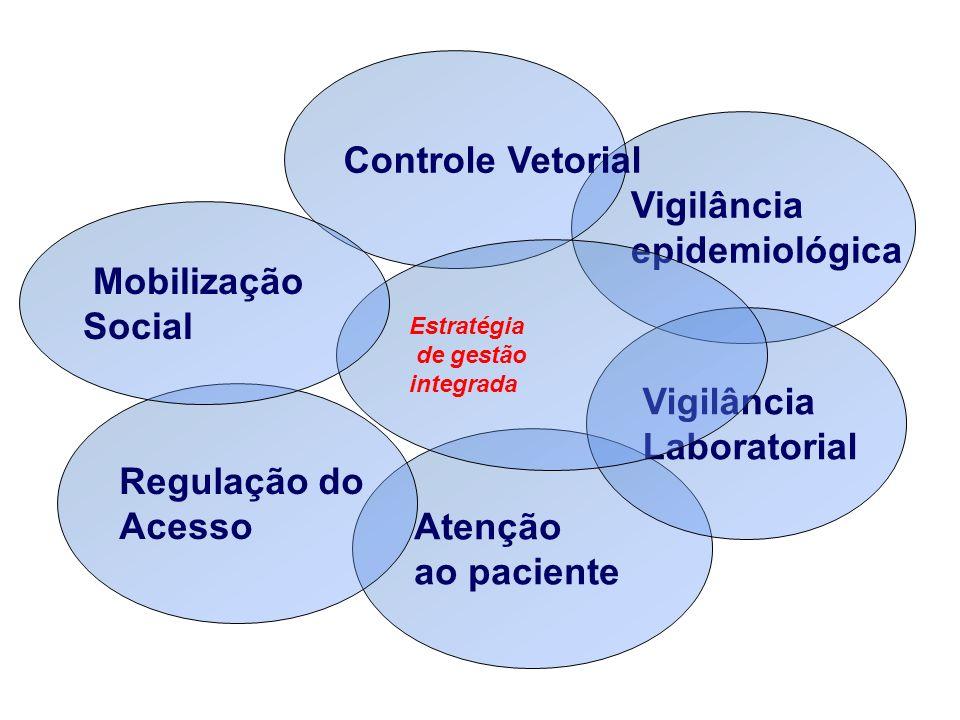 Vigilância epidemiológica Controle Vetorial Atenção ao paciente Vigilância Laboratorial Estratégia de gestão integrada Regulação do Acesso Mobilização