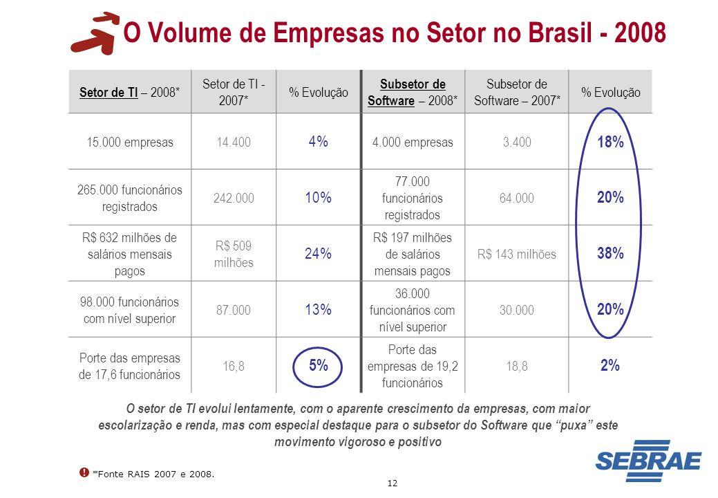 12 O Volume de Empresas no Setor no Brasil - 2008 *Fonte RAIS 2007 e 2008. Setor de TI – 2008* Setor de TI - 2007* % Evolução Subsetor de Software – 2