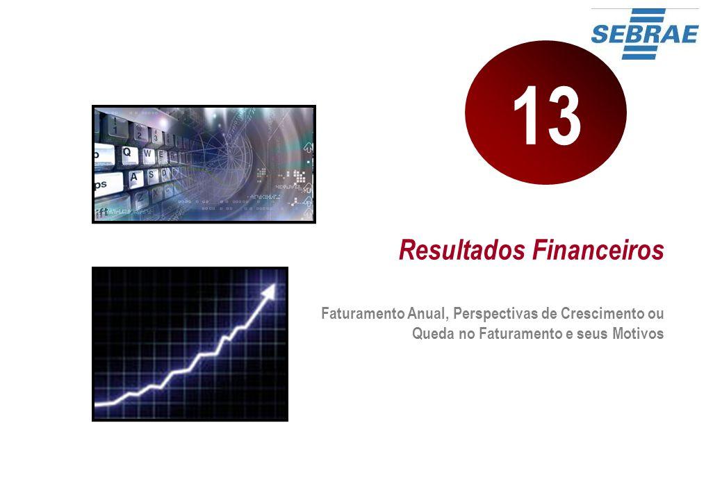 Resultados Financeiros Faturamento Anual, Perspectivas de Crescimento ou Queda no Faturamento e seus Motivos 13