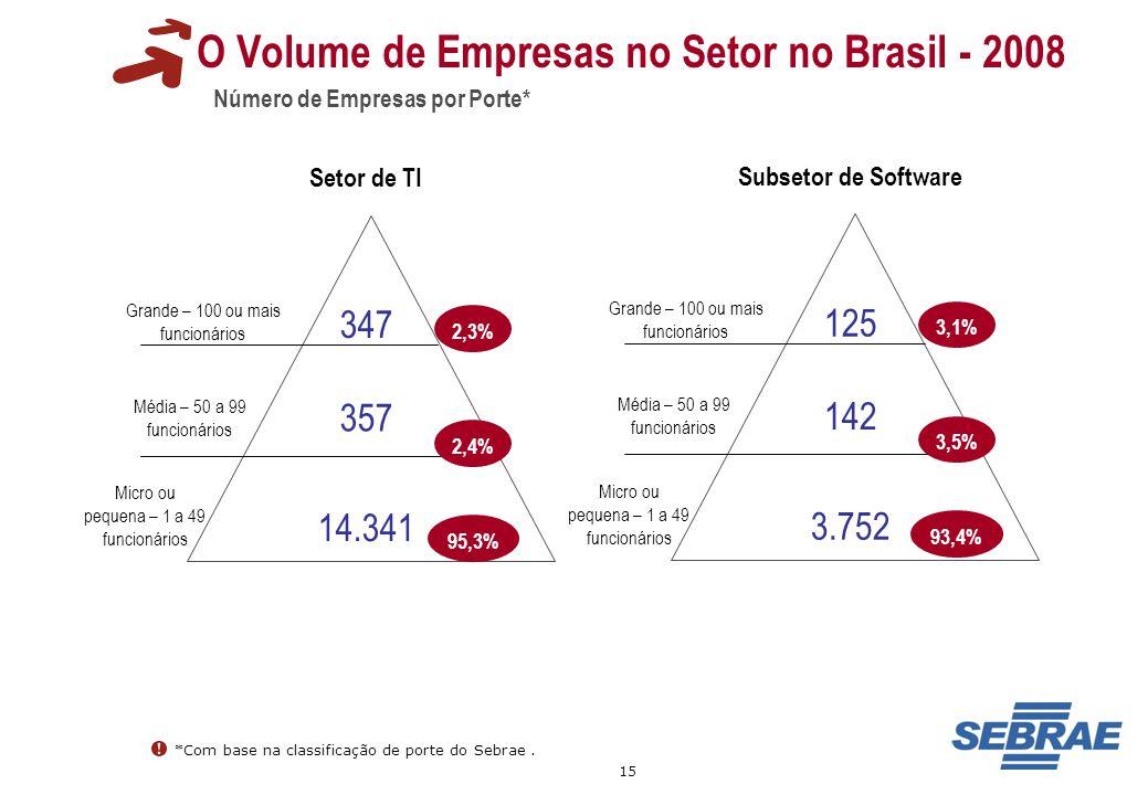 15 O Volume de Empresas no Setor no Brasil - 2008 Número de Empresas por Porte* Grande – 100 ou mais funcionários Média – 50 a 99 funcionários Micro o