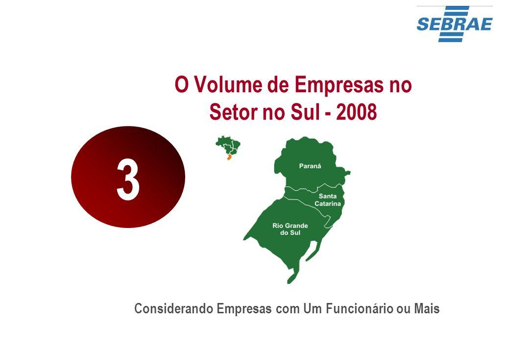 O Volume de Empresas no Setor no Sul - 2008 Considerando Empresas com Um Funcionário ou Mais 3