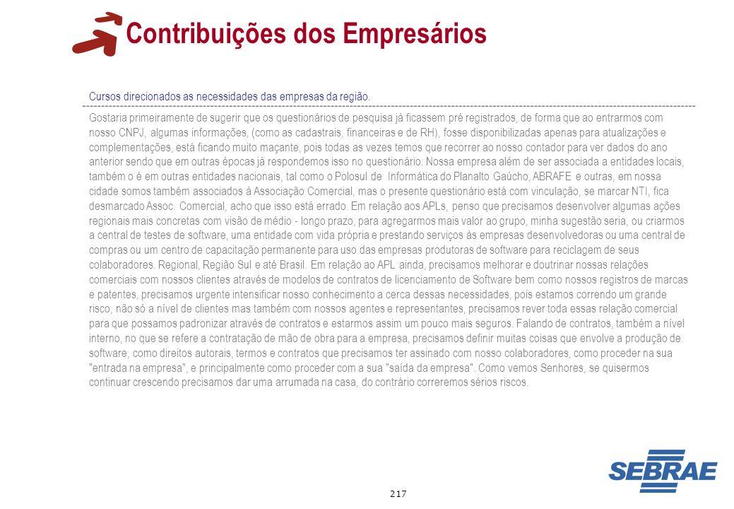 217 Contribuições dos Empresários Cursos direcionados as necessidades das empresas da região. Gostaria primeiramente de sugerir que os questionários d