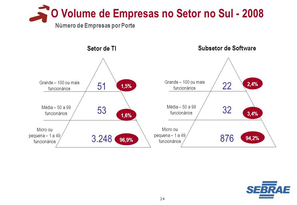 24 51 Grande – 100 ou mais funcionários O Volume de Empresas no Setor no Sul - 2008 Número de Empresas por Porte Grande – 100 ou mais funcionários Méd