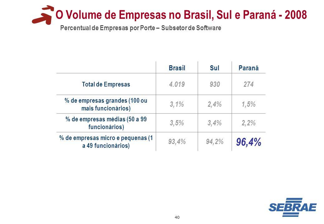 40 O Volume de Empresas no Brasil, Sul e Paraná - 2008 Percentual de Empresas por Porte – Subsetor de Software BrasilSulParaná Total de Empresas 4.019