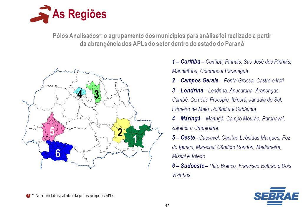 42 As Regiões Pólos Analisados*: o agrupamento dos municípios para análise foi realizado a partir da abrangência dos APLs do setor dentro do estado do