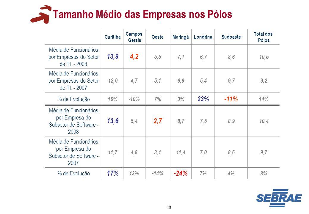 45 Tamanho Médio das Empresas nos Pólos Curitiba Campos Gerais OesteMaringáLondrinaSudoeste Total dos Pólos Média de Funcionários por Empresas do Seto