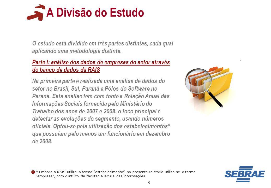 7 A Divisão do Estudo Parte II: análise do desempenho das empresas dos APLs de Software no Paraná Os participantes dos APLs de Curitiba, Campos Gerais, Sudoeste, Oeste, Maringá e Londrina.