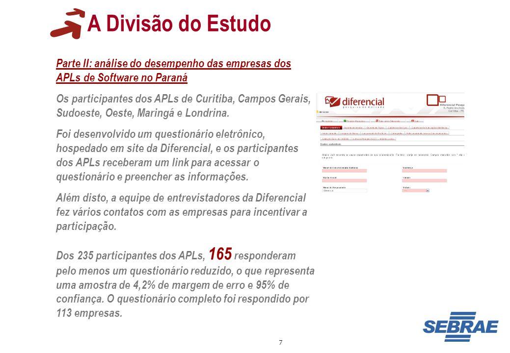 7 A Divisão do Estudo Parte II: análise do desempenho das empresas dos APLs de Software no Paraná Os participantes dos APLs de Curitiba, Campos Gerais
