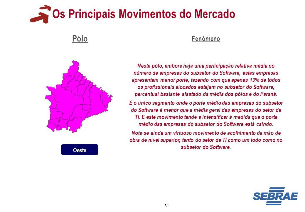 81 Os Principais Movimentos do Mercado Pólo Fenômeno Neste pólo, embora haja uma participação relativa média no número de empresas do subsetor do Soft