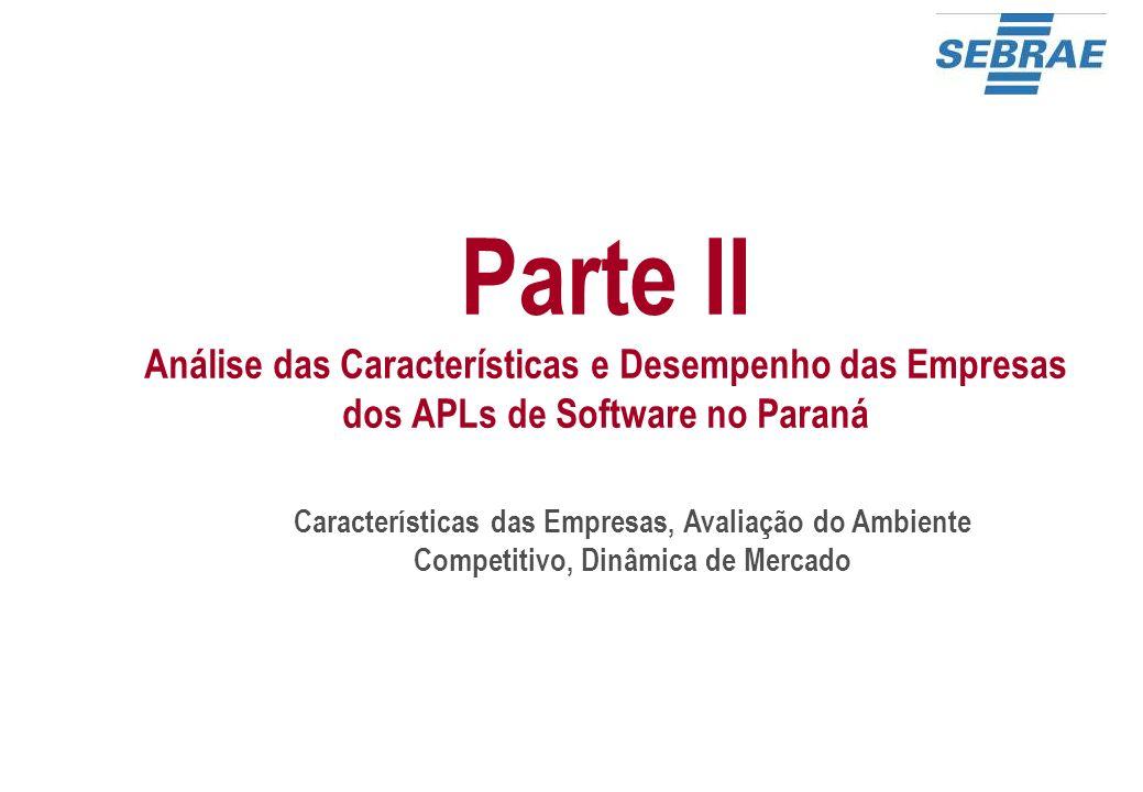 Características das Empresas, Avaliação do Ambiente Competitivo, Dinâmica de Mercado Parte II Análise das Características e Desempenho das Empresas do