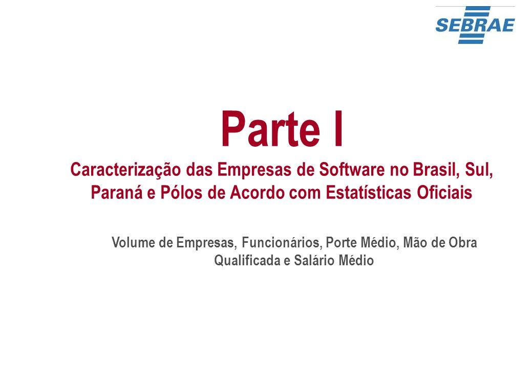 40 O Volume de Empresas no Brasil, Sul e Paraná - 2008 Percentual de Empresas por Porte – Subsetor de Software BrasilSulParaná Total de Empresas 4.019930274 % de empresas grandes (100 ou mais funcionários) 3,1%2,4%1,5% % de empresas médias (50 a 99 funcionários) 3,5%3,4%2,2% % de empresas micro e pequenas (1 a 49 funcionários) 93,4%94,2% 96,4%