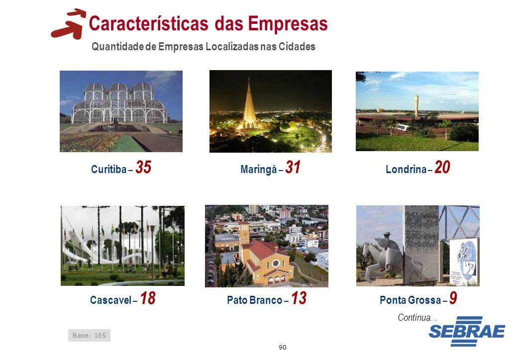 90 Características das Empresas Quantidade de Empresas Localizadas nas Cidades Base: 165 Curitiba – 35 Cascavel – 18 Ponta Grossa – 9 Pato Branco – 13