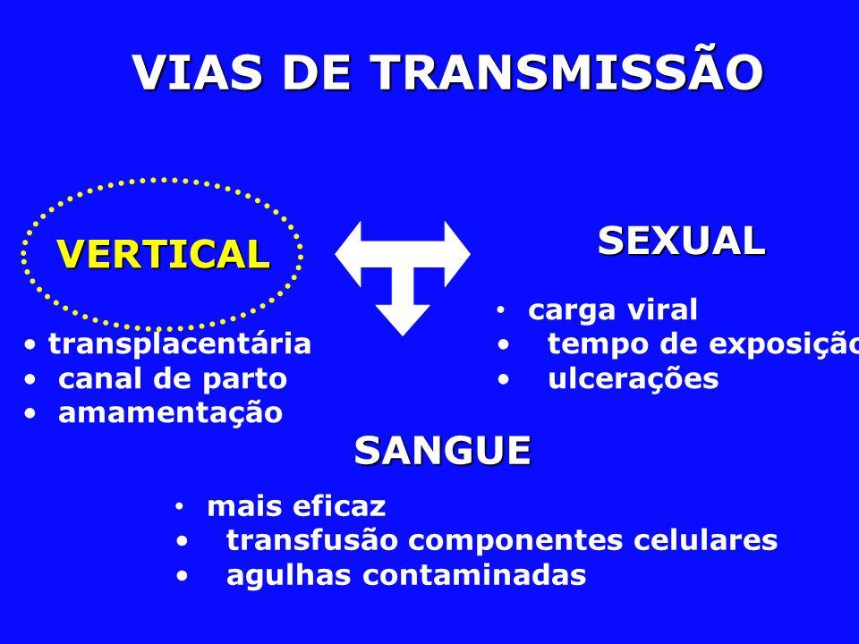 VIAS DE TRANSMISSÃO SANGUE SANGUE SEXUAL VERTICAL transplacentária canal de parto amamentação mais eficaz transfusão componentes celulares agulhas con
