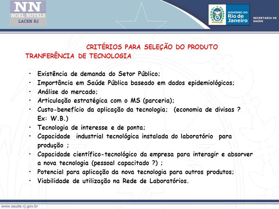 CRITÉRIOS PARA SELEÇÃO DO PRODUTO TRANFERÊNCIA DE TECNOLOGIA Existência de demanda do Setor Público; Importância em Saúde Pública baseado em dados epi
