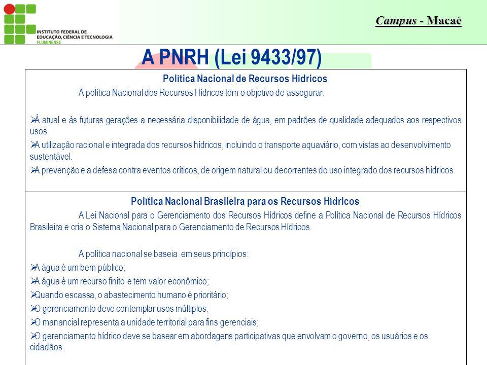 Campus - Macaé A PNRH (Lei 9433/97) Política Nacional de Recursos Hídricos A política Nacional dos Recursos Hídricos tem o objetivo de assegurar: À at