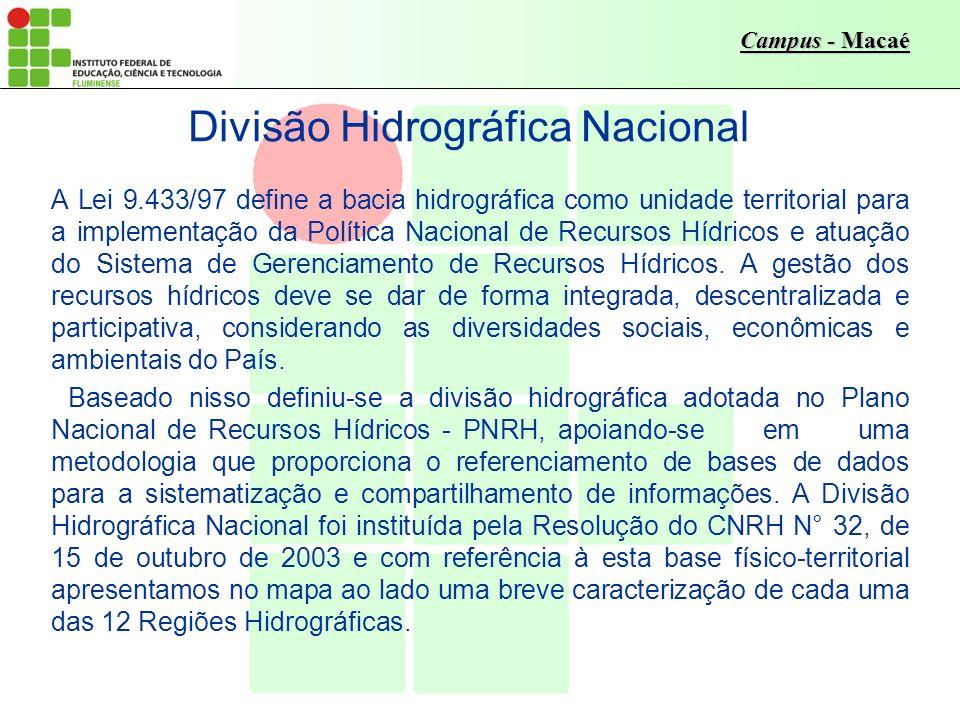 Campus - Macaé A Lei 9.433/97 define a bacia hidrográfica como unidade territorial para a implementação da Política Nacional de Recursos Hídricos e at