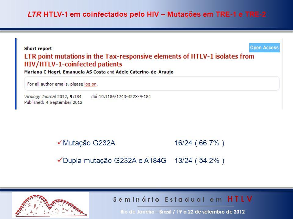 LTR HTLV-1 em coinfectados pelo HIV – Mutações em TRE-1 e TRE-2 S e m i n á r i o E s t a d u a l e m H T L V Rio de Janeiro – Brasil / 19 a 22 de set