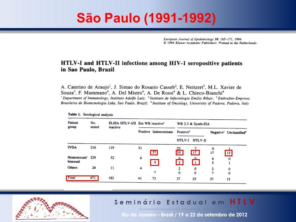 S e m i n á r i o E s t a d u a l e m H T L V Rio de Janeiro – Brasil / 19 a 22 de setembro de 2012 São Paulo (1991-1992)
