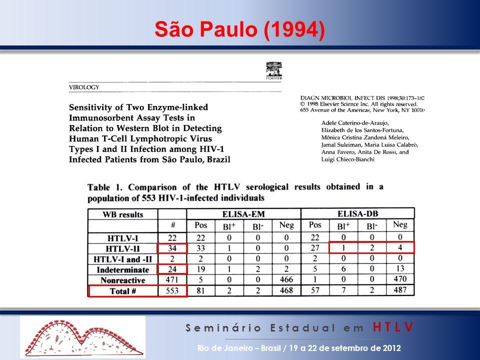 São Paulo (1994) S e m i n á r i o E s t a d u a l e m H T L V Rio de Janeiro – Brasil / 19 a 22 de setembro de 2012