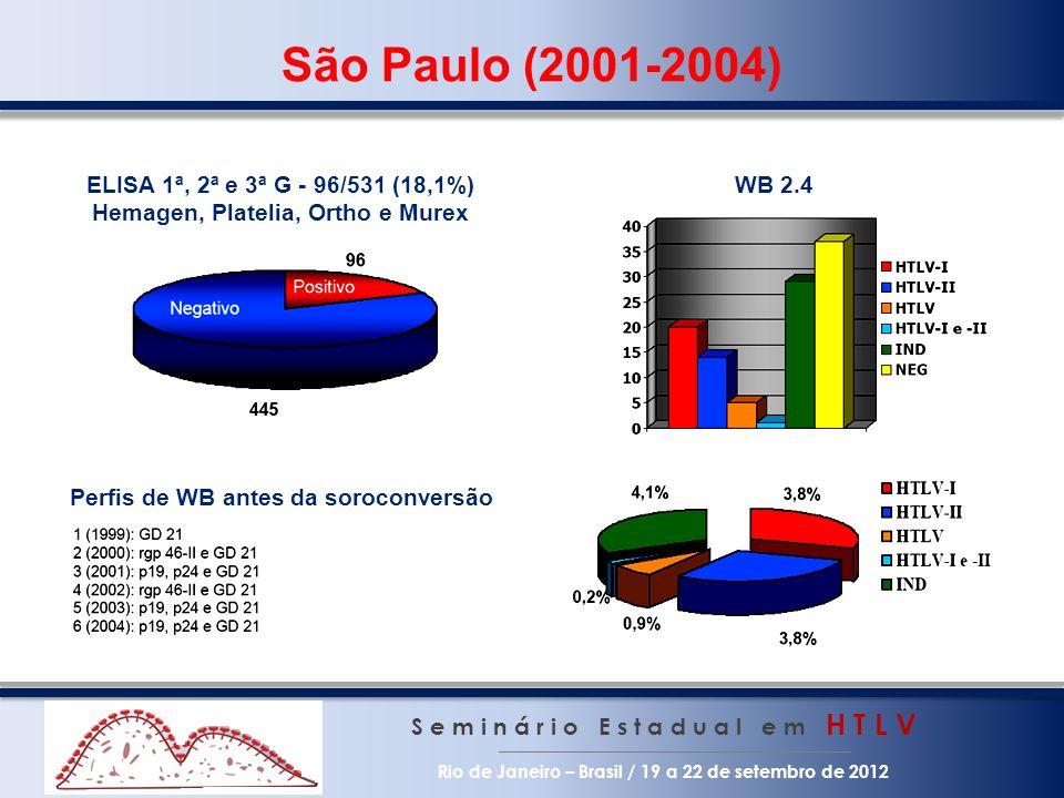 São Paulo (2001-2004) S e m i n á r i o E s t a d u a l e m H T L V Rio de Janeiro – Brasil / 19 a 22 de setembro de 2012 Perfis de WB antes da soroco