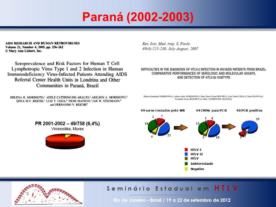 Paraná (2002-2003) S e m i n á r i o E s t a d u a l e m H T L V Rio de Janeiro – Brasil / 19 a 22 de setembro de 2012