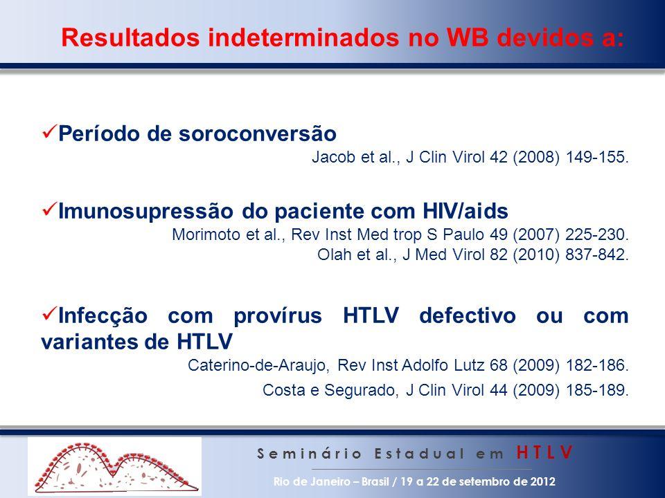 Resultados indeterminados no WB devidos a: S e m i n á r i o E s t a d u a l e m H T L V Rio de Janeiro – Brasil / 19 a 22 de setembro de 2012 Período