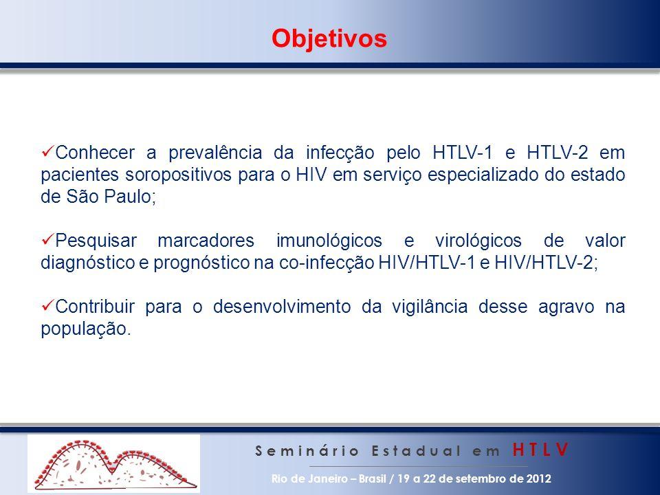 Objetivos S e m i n á r i o E s t a d u a l e m H T L V Rio de Janeiro – Brasil / 19 a 22 de setembro de 2012 Conhecer a prevalência da infecção pelo